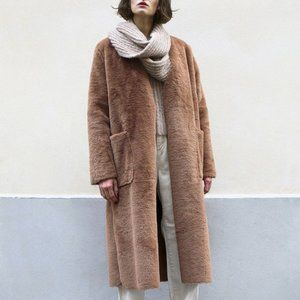 Frankie Shop Faux Fur Coat Jacket Brown